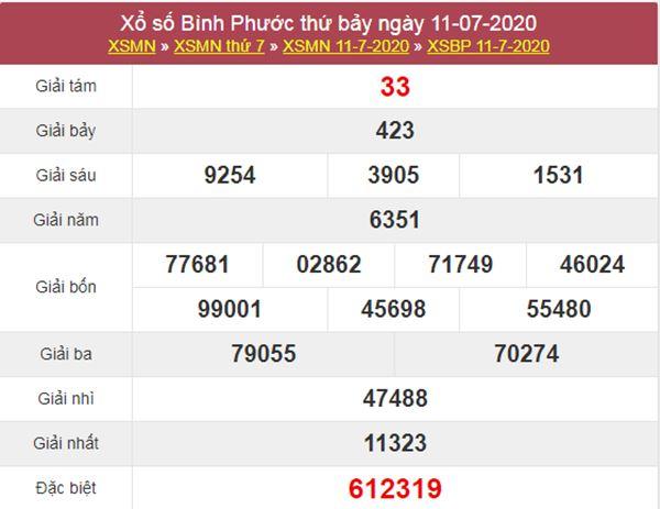 Thống kê XSBP 18/7/2020 chốt KQXS Bình Phước thứ 7