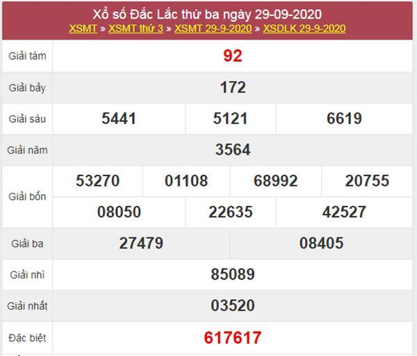Thống kê XSDLK 6/10/2020 chốt lô VIP ĐăkLắc thứ 3
